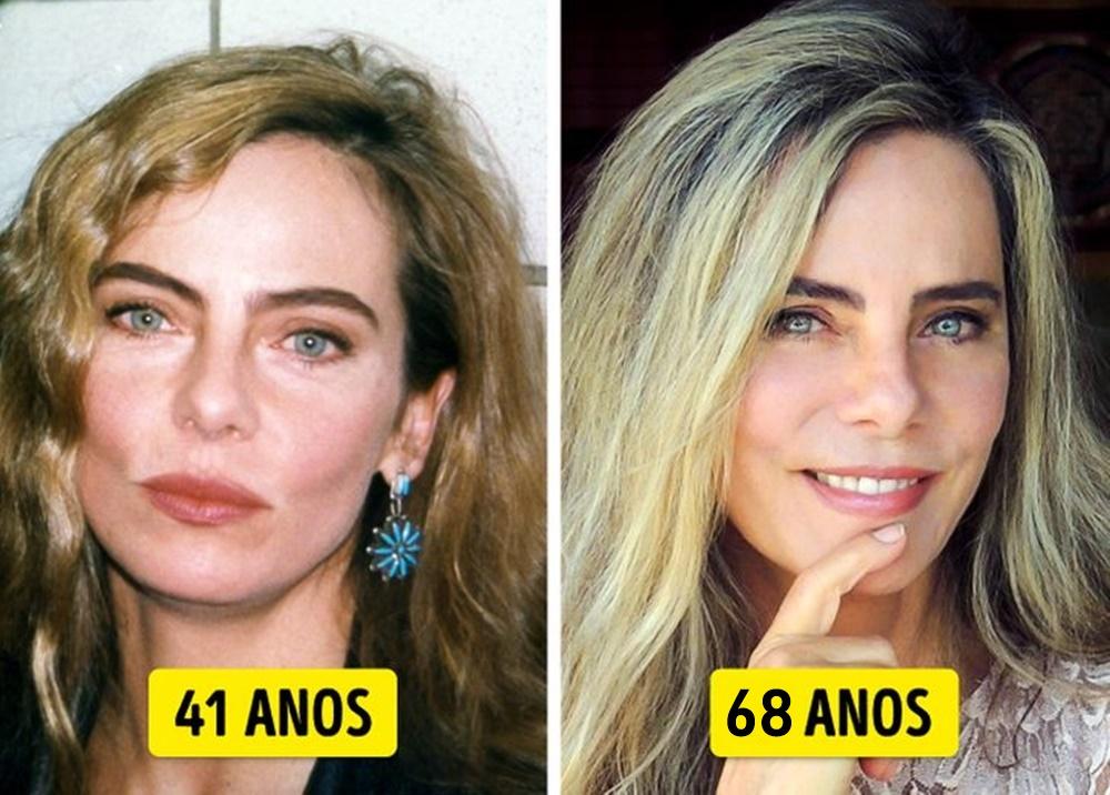 Bruna Lombardi mais nova e mais velha.