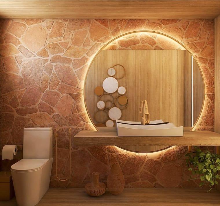 Espelho com moldura redonda