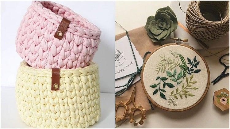 cestos de crochê e bastidor com bordado botânico