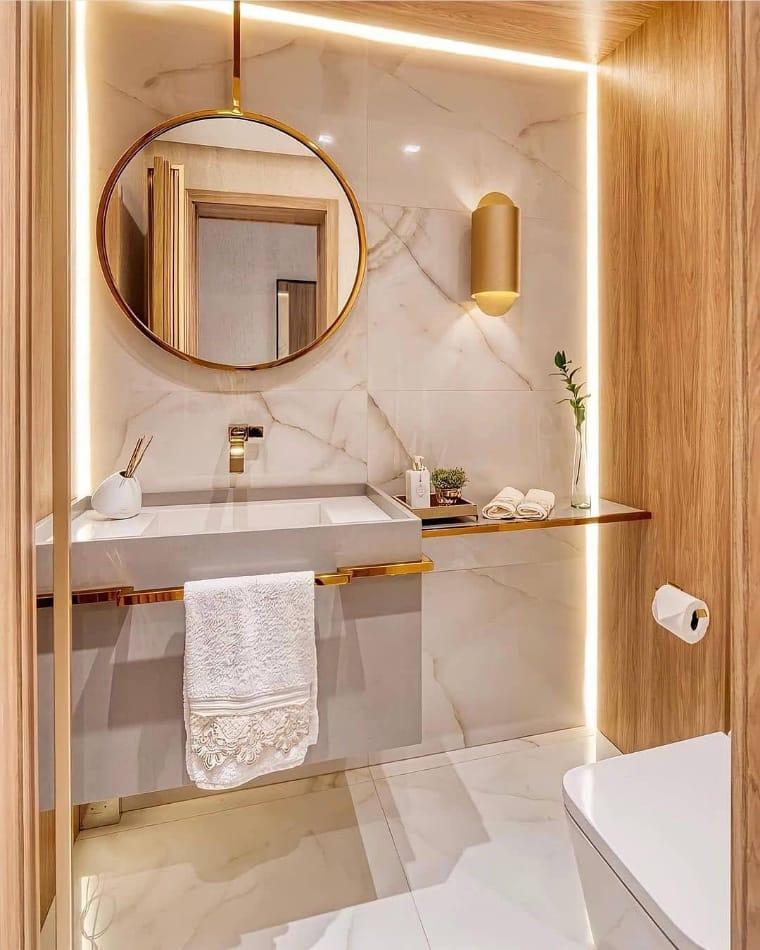 Banheiro com luminária