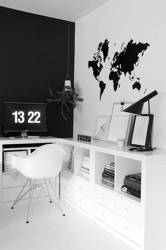 Escritório preto e branco