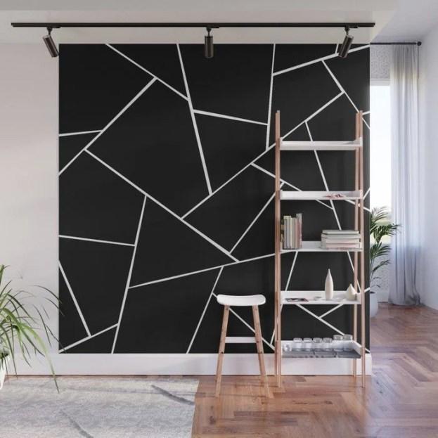 Parede geométrica branca e preta