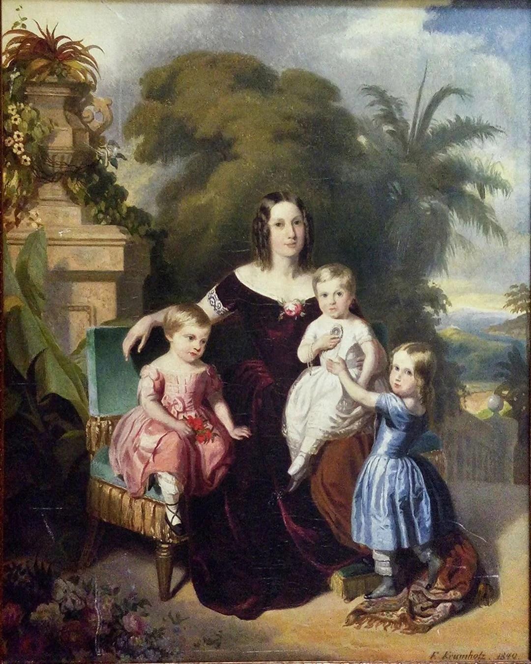 A imperatriz do Brasil e seus três filhos pequenos Isabel, Leopoldina e Pedro, no Rio de Janeiro. 1849.
