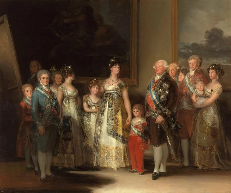 Pintura de Francisco Goya de Carlos IV da Espanha e sua família, onde se vê meninos e meninas com a roupa infantil da época.
