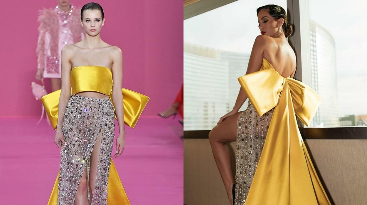 Anitta usa vestido de laço amarelo.