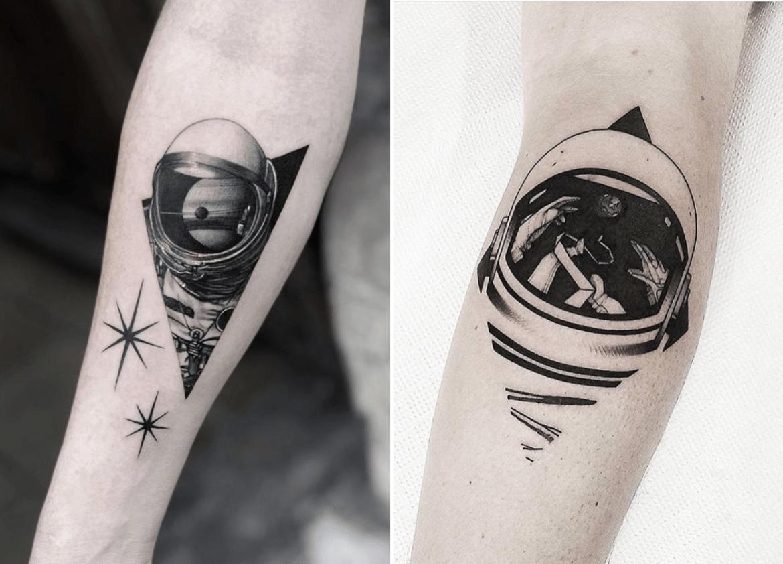 Tatuagem de capacete de astronauta com geometria