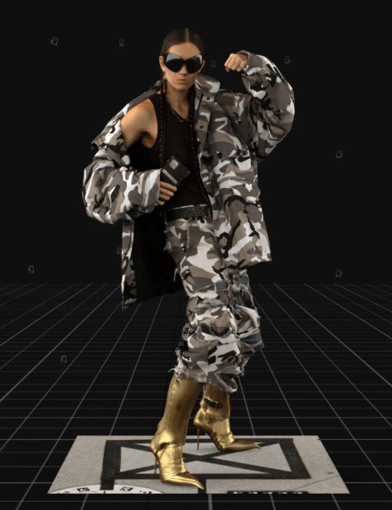 Modelo usa conjunto camuflagem