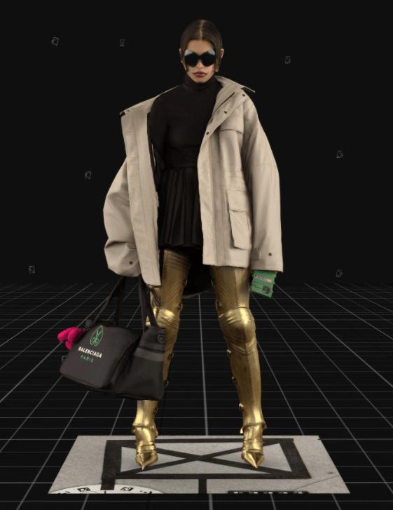Modelo usa casaco oversized, vestido preto e botas