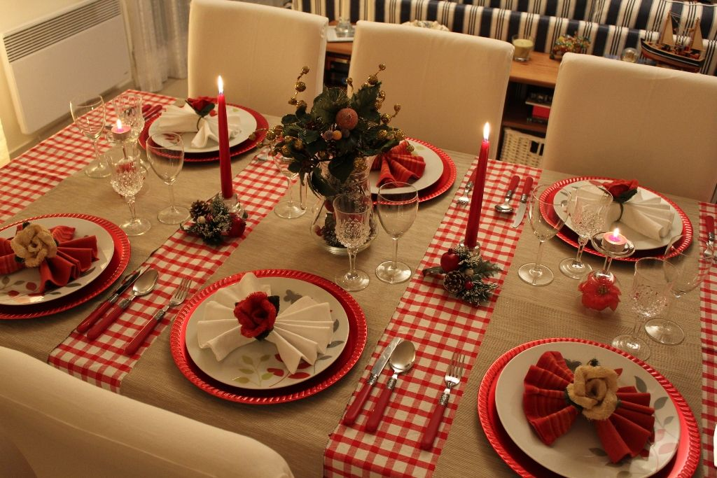 Toalha de mesa ceia de Natal.
