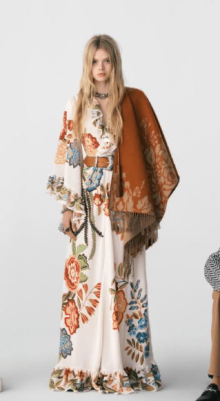 Vestido longo mangas compridas com cinto e poncho