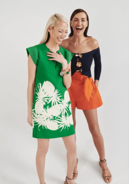 vestido com estampa abacaxi, conjunto short e blusa