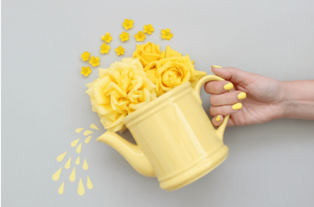 Regador amarelo com flores em parede cinza