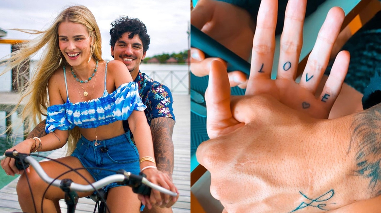 Gabriel Medina e sua esposa, tatuagens.