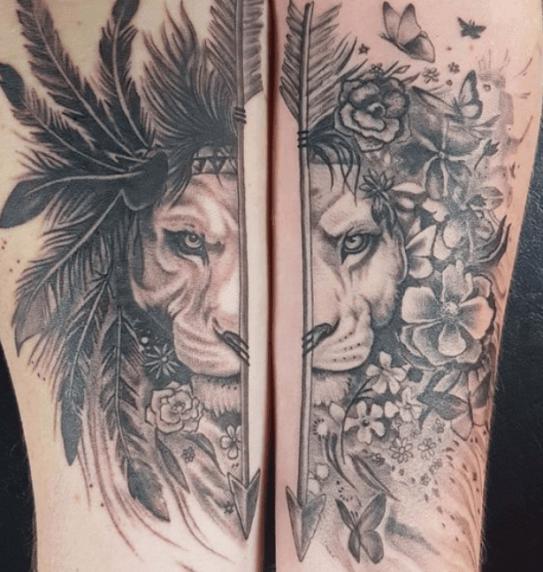 tatuagem de leão e leoa
