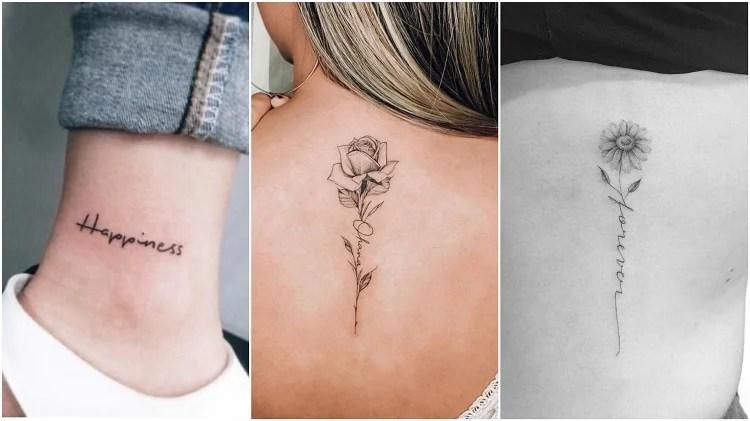 três tatuagens de palavra