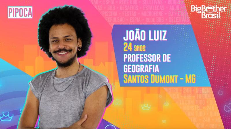 Na foto, aparece João Luiz, um dos participantes do BBB 21.