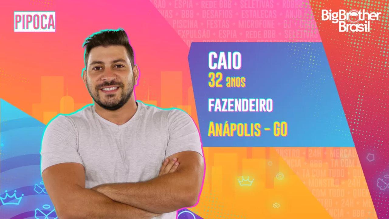 Na imagem, aparece Caio, participante do BBB 21