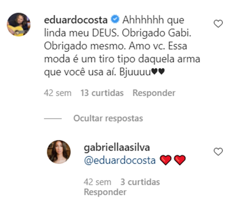 Comentários de Eduarco Costa e Gabriella Silva.
