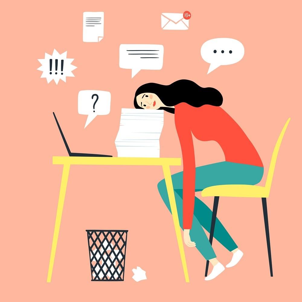 Procrastinação, ilustração.