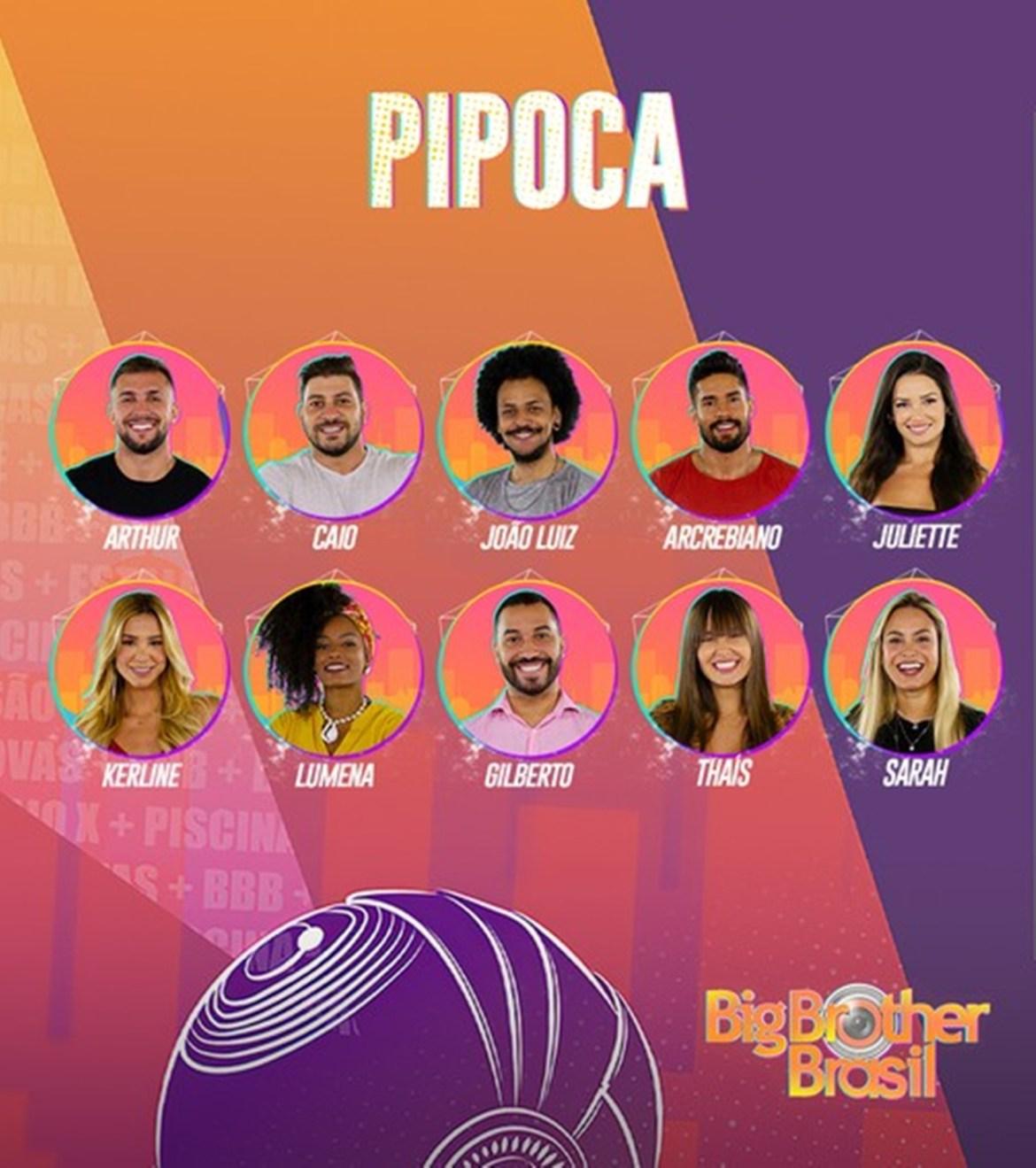 Time pipoca no Big Brother Brasil.