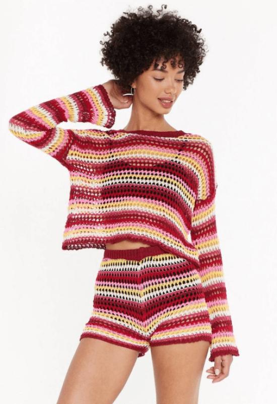 Conjunto blusa manga comprida vermelho, branco e amarelo