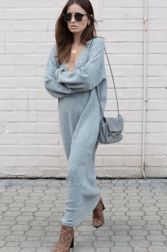 Vestido tricô manga comprida longo