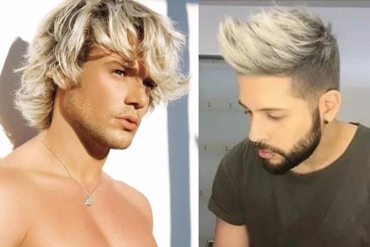 duas opções de cabelo platinado em degradê para homens