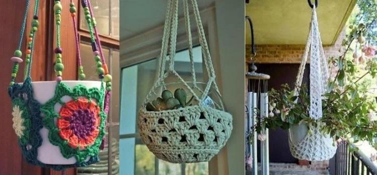 cachepôs elaborados de crochê