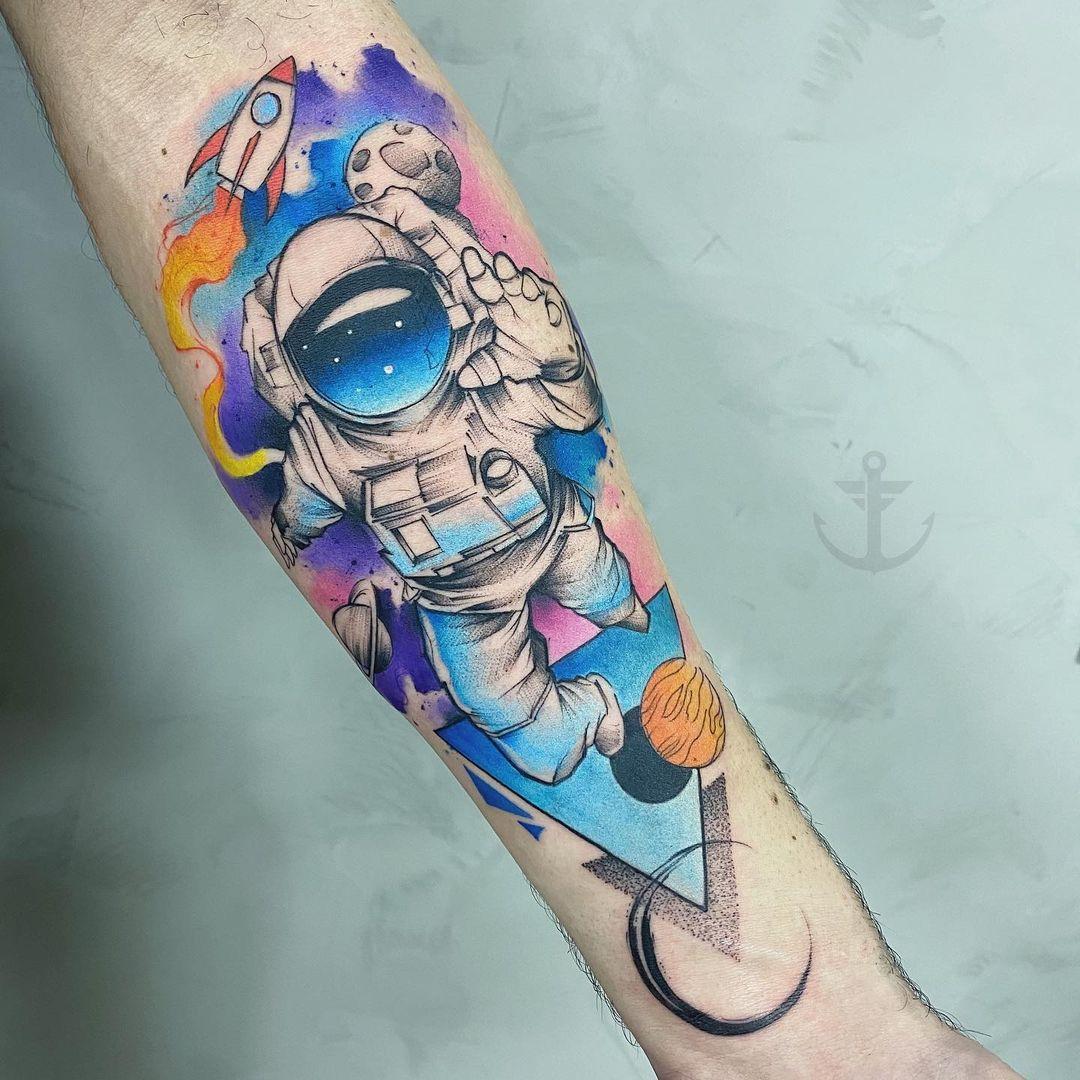 Tatuagem de astronauta, aquarela.