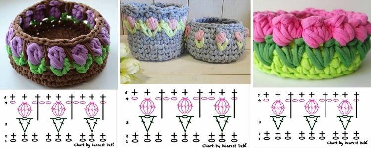 cachepôs de crochê com flor