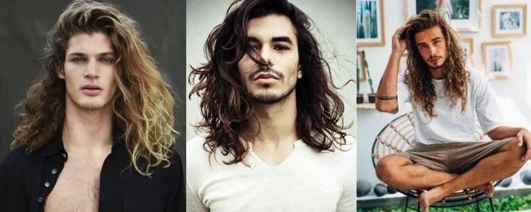 três opções de corte de cabelo masculino longo messy waves