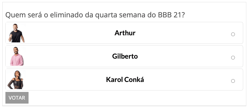 Enquetes BBB 21 do Fashion Bubbles