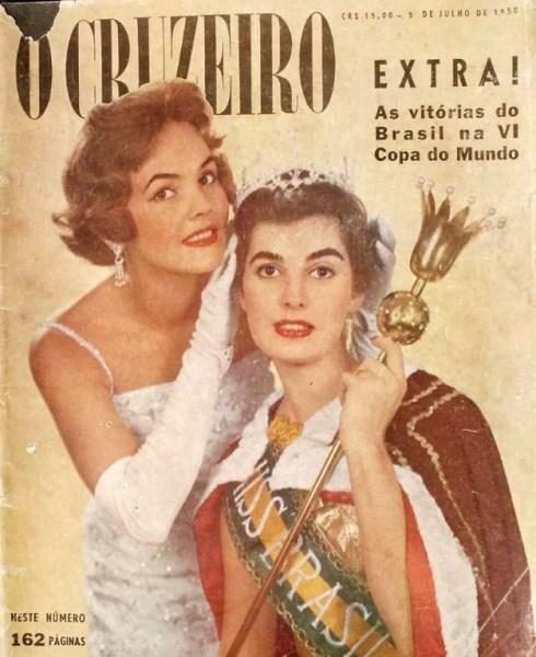 """Revisa """"O Cruzeiro"""" de 1958 com a Miss Adalgisa Colombo."""