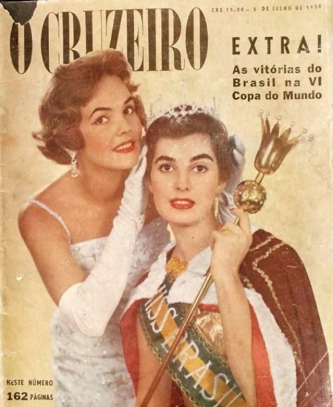 """Capa da revista """"O Cruzeiro"""", de 1958, com a Miss Adalgisa Colombo."""