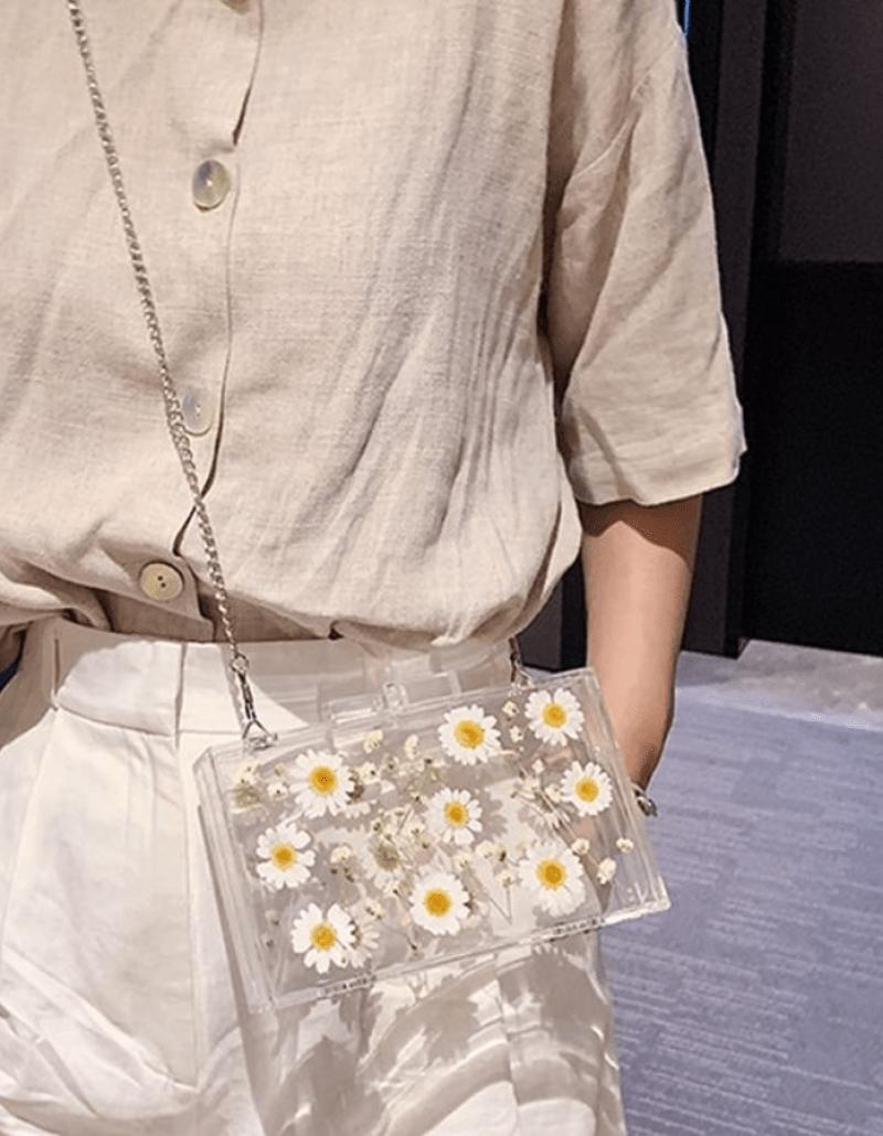 Bolsa transparente com flores