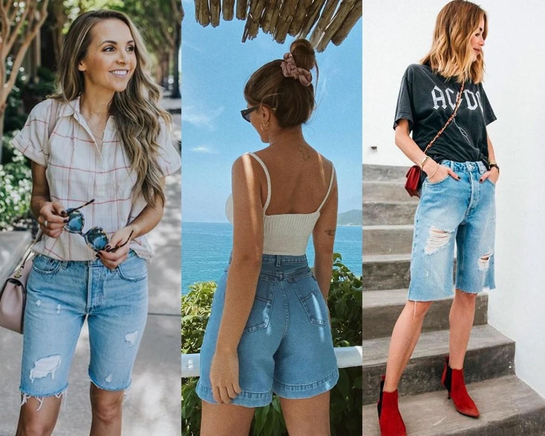 Bermuda jeans, mulheres.
