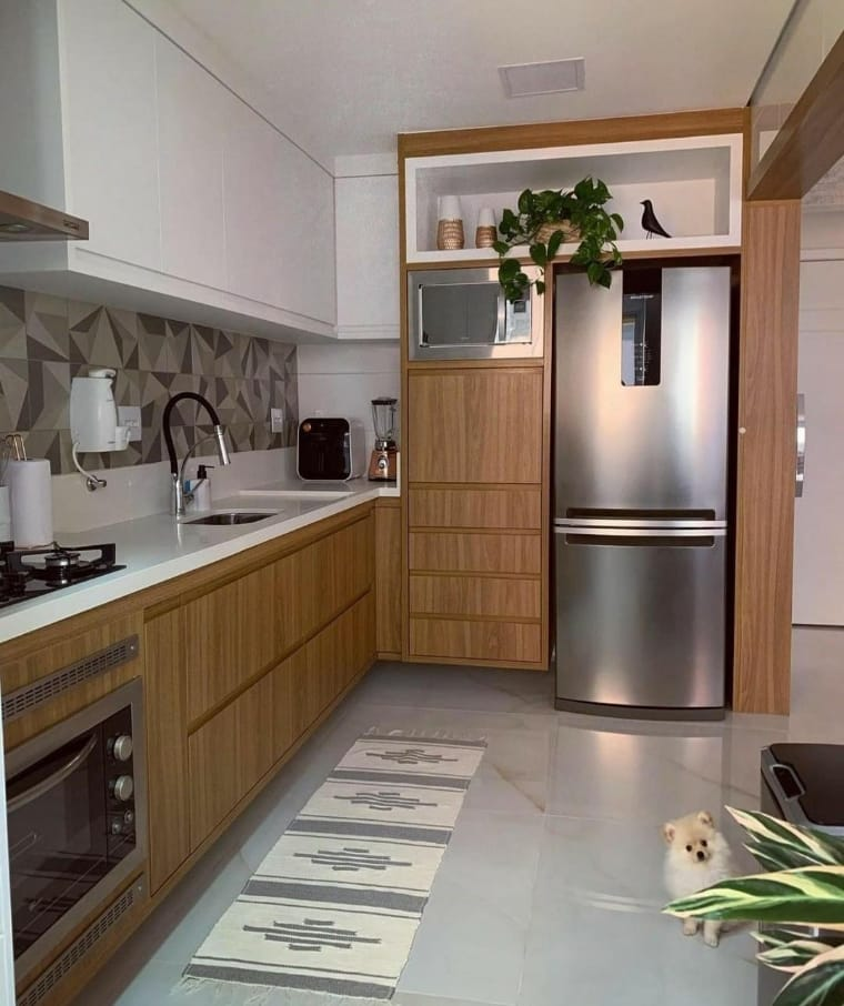 Tendência para decoração cozinha com madeira