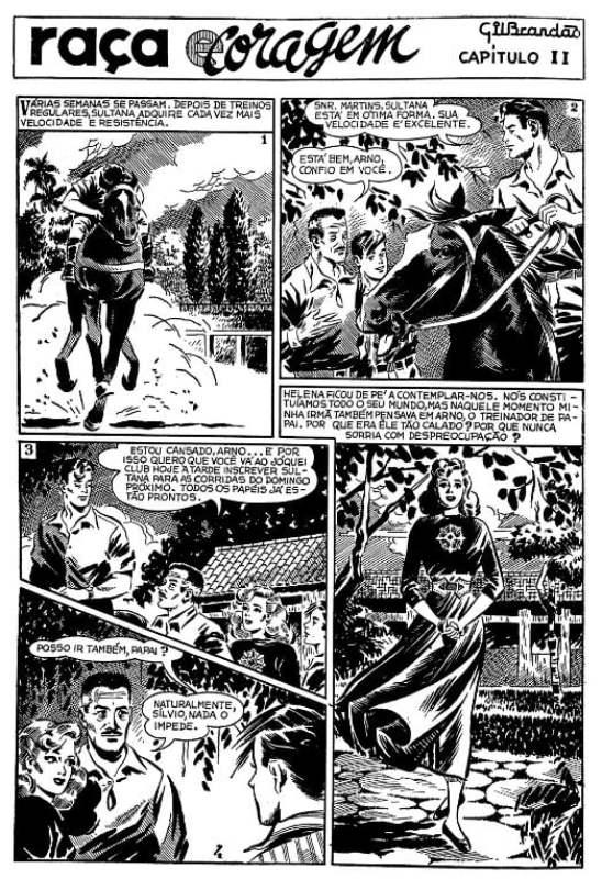 """Quadrinho de Gil Brandão """"Raça e Coragem"""", de 1948."""