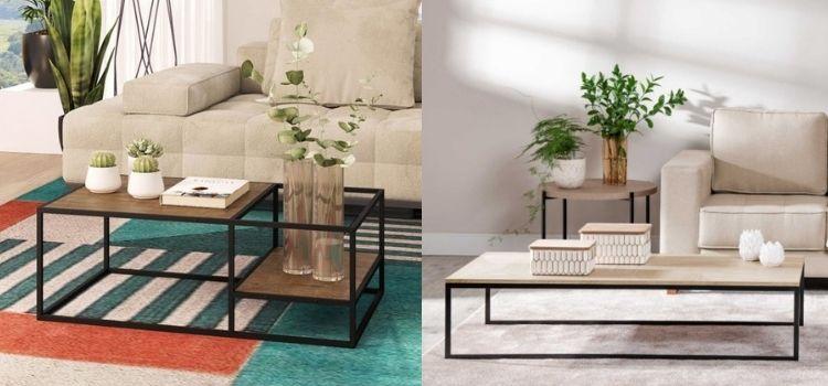 duas opções de mesa de centro de metal
