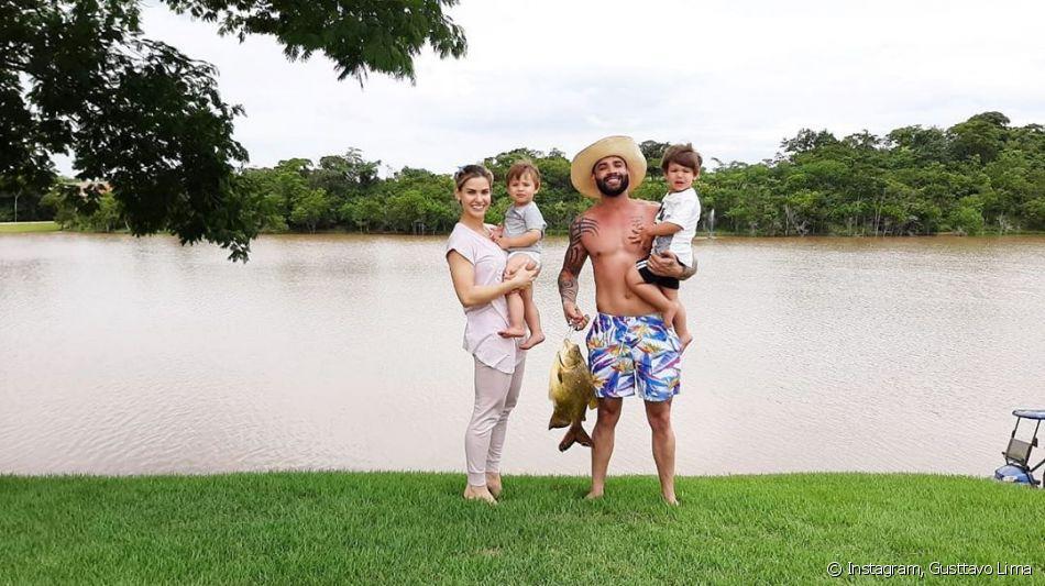 Gusttavo Lima, Andressa Suita e os filhos do casal - Reprodução