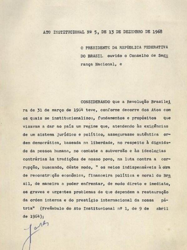 Página 01 do Ato Institucional Número Cinco (AI-5), de 13 de dezembro de 1968.