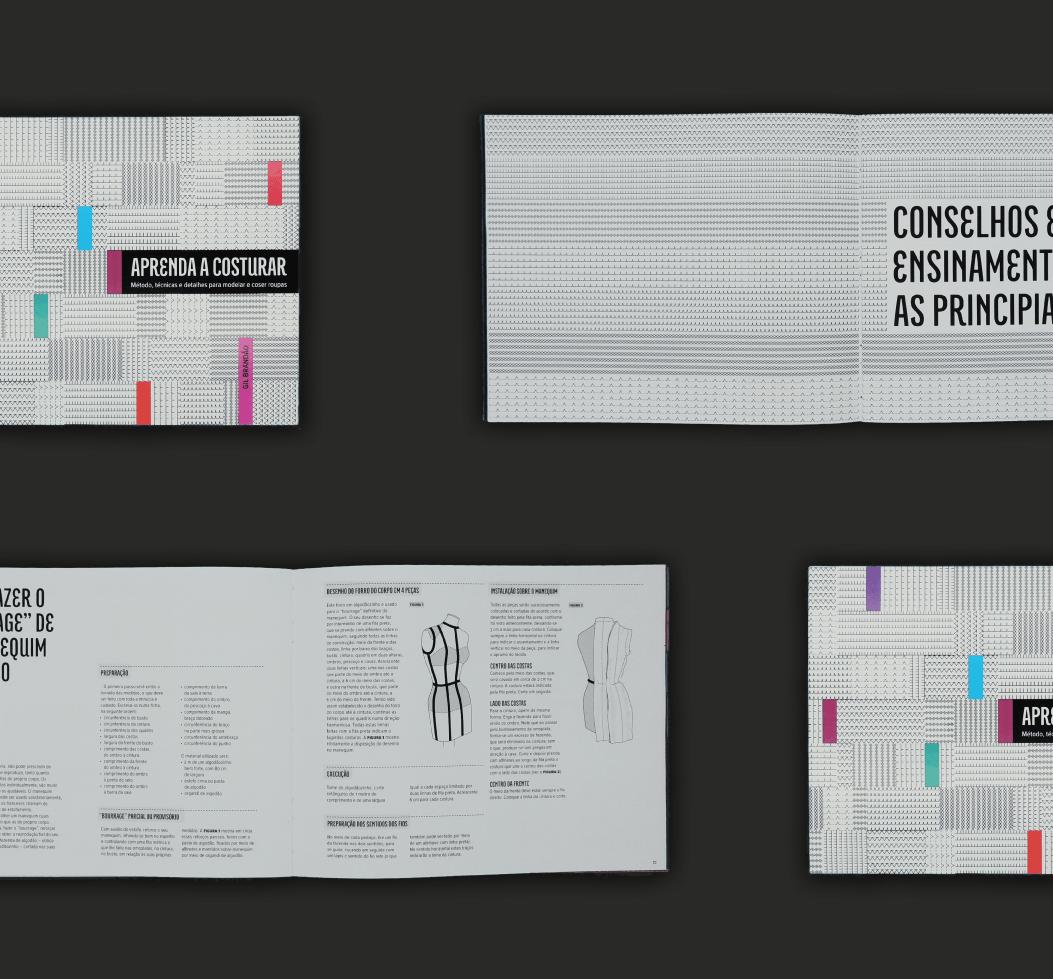 """Redesign do livro """"Aprenda a Costurar"""" de Gil Brandão, de 1967."""