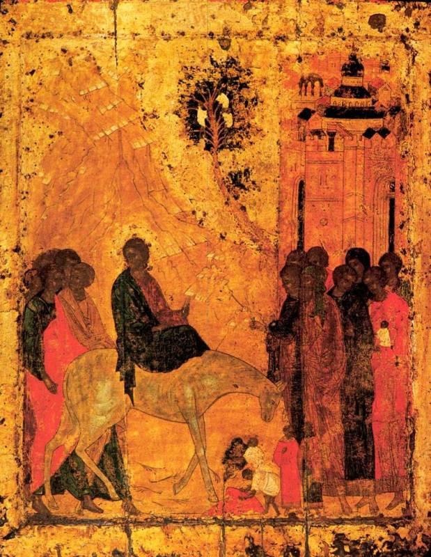 Pintura russa da entrada de Jesus em Jerusalém no Domingo de Ramos, século XV.