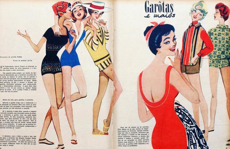 """Ilustração de Alceu Penna """"Garotas e Maiôs""""."""