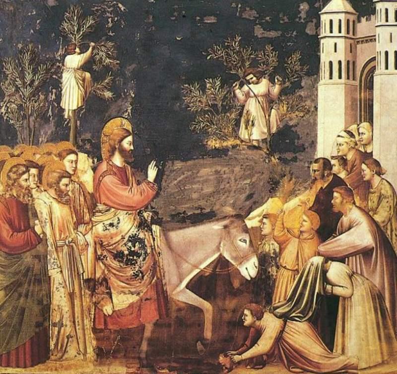 Entrada de Jesus em Jerusalém de Giotto di Bondone, século XIV.