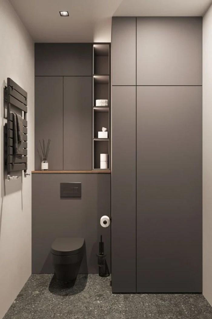 Banheiro preto e cinza