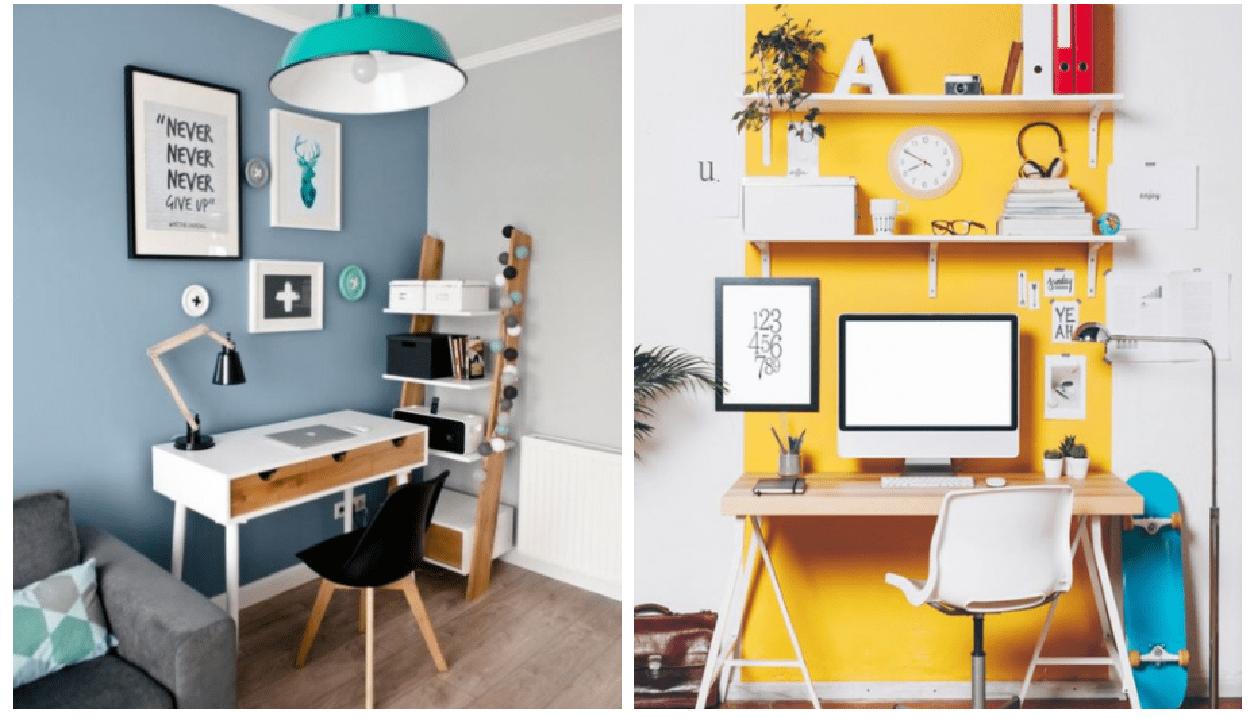 Dois exemplos de cores para home office.