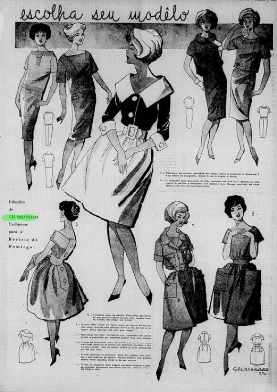 """""""Escolha seu modelo"""", ilustrações de Gil Brandão na Revista de Domingo, 1959."""