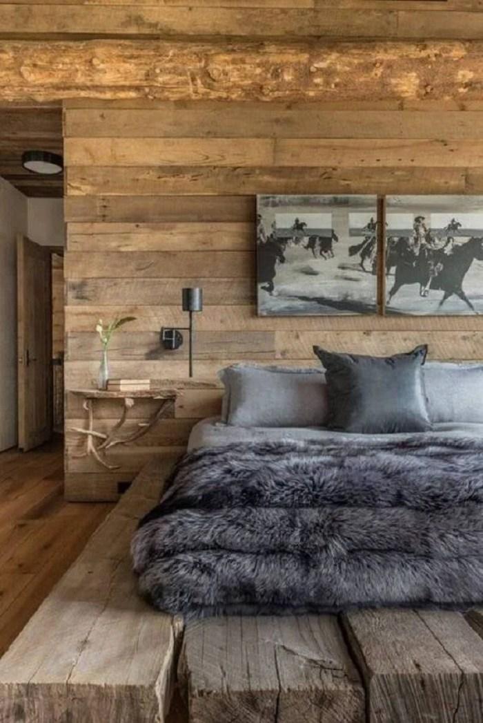 Decoração rústica com parede de madeira