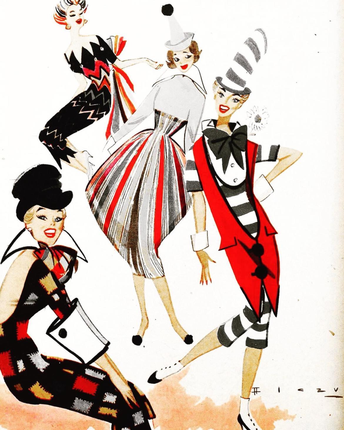 """""""As Garotas"""" com roupas de carnaval."""